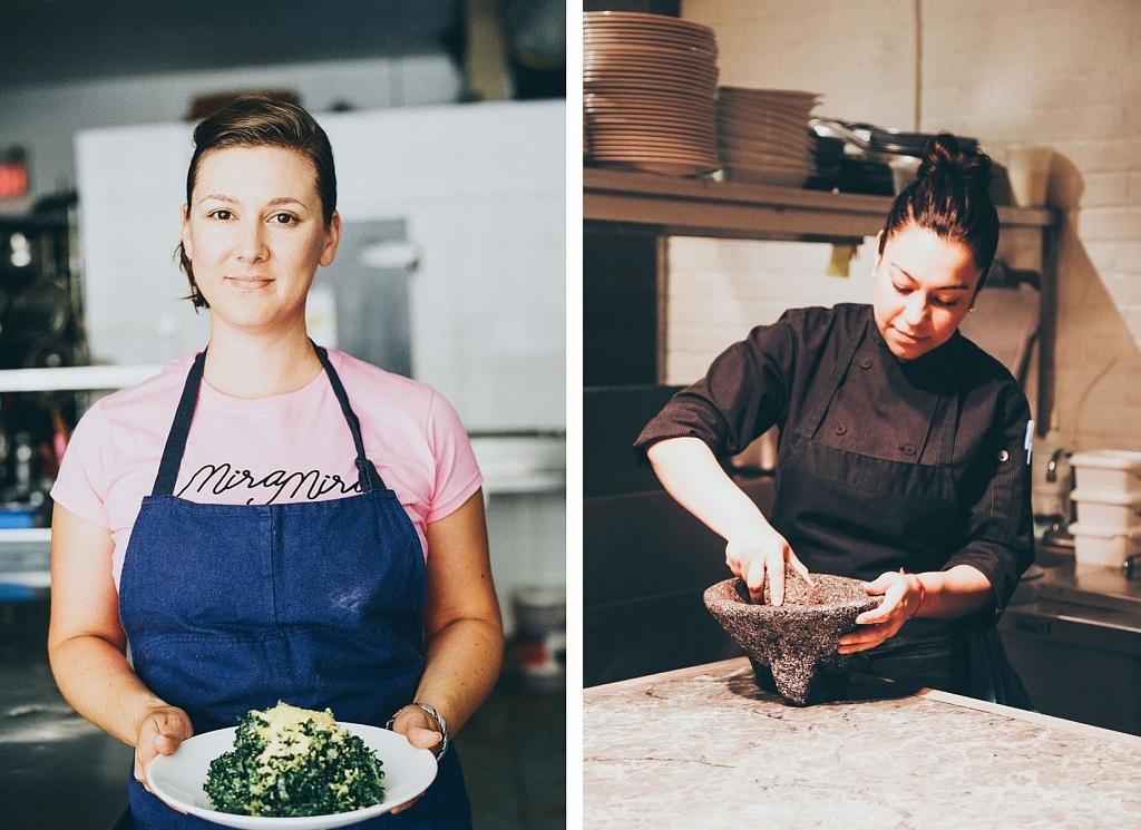 Chefs Amira Becarevic and Elia Herrera