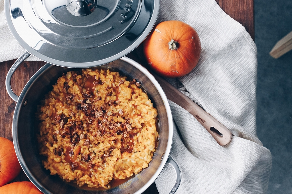 Pumpkin Risotto with Amaretti Cookies