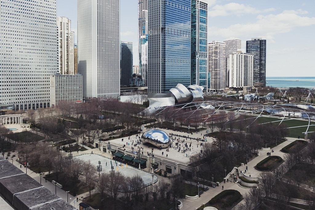 The view of Millenium Park from Cindy's Rooftop, Chicago