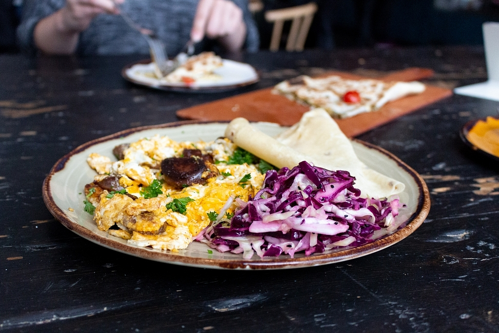 Soujuk and Egg Scramble with Arabic Slaw and Saj Pita