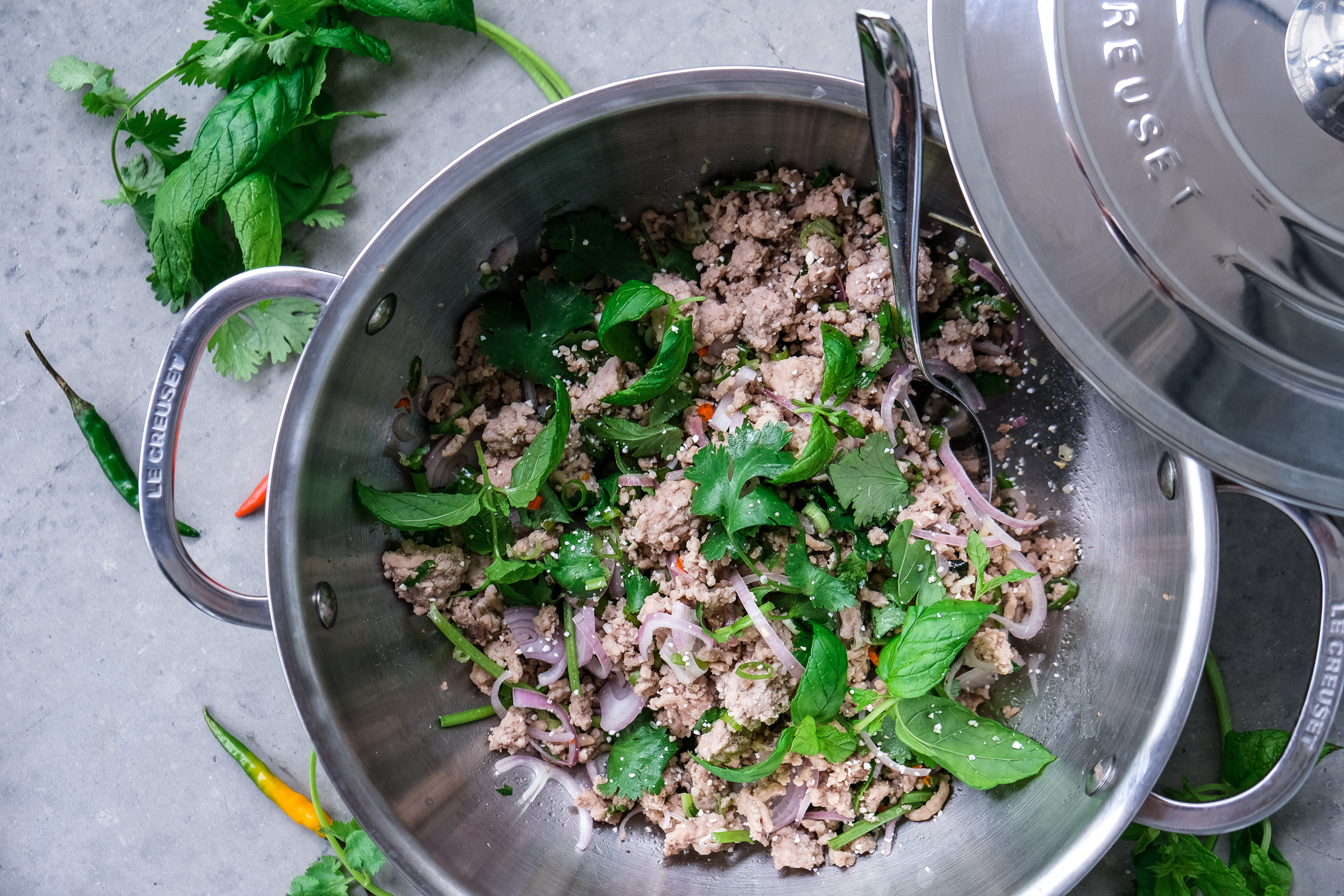 Larb made in the Le Creuset Canada Stainless Steel Risotto Pot