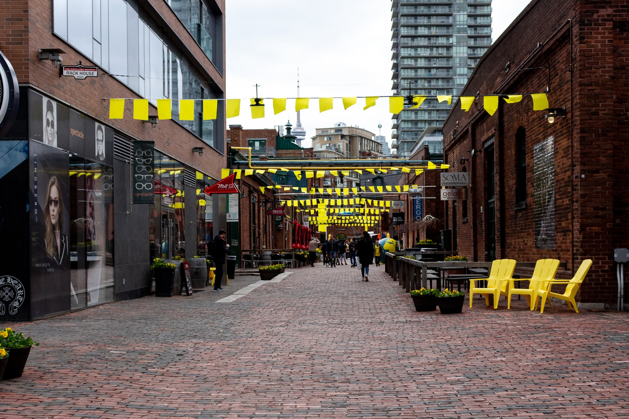 Distillery District Yellow Flags